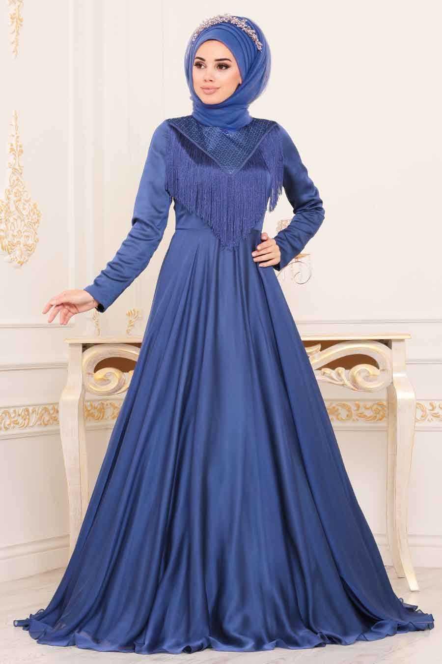 Puskullu Mavi Tesettur Abiye Elbise 3894m Neva Style Com