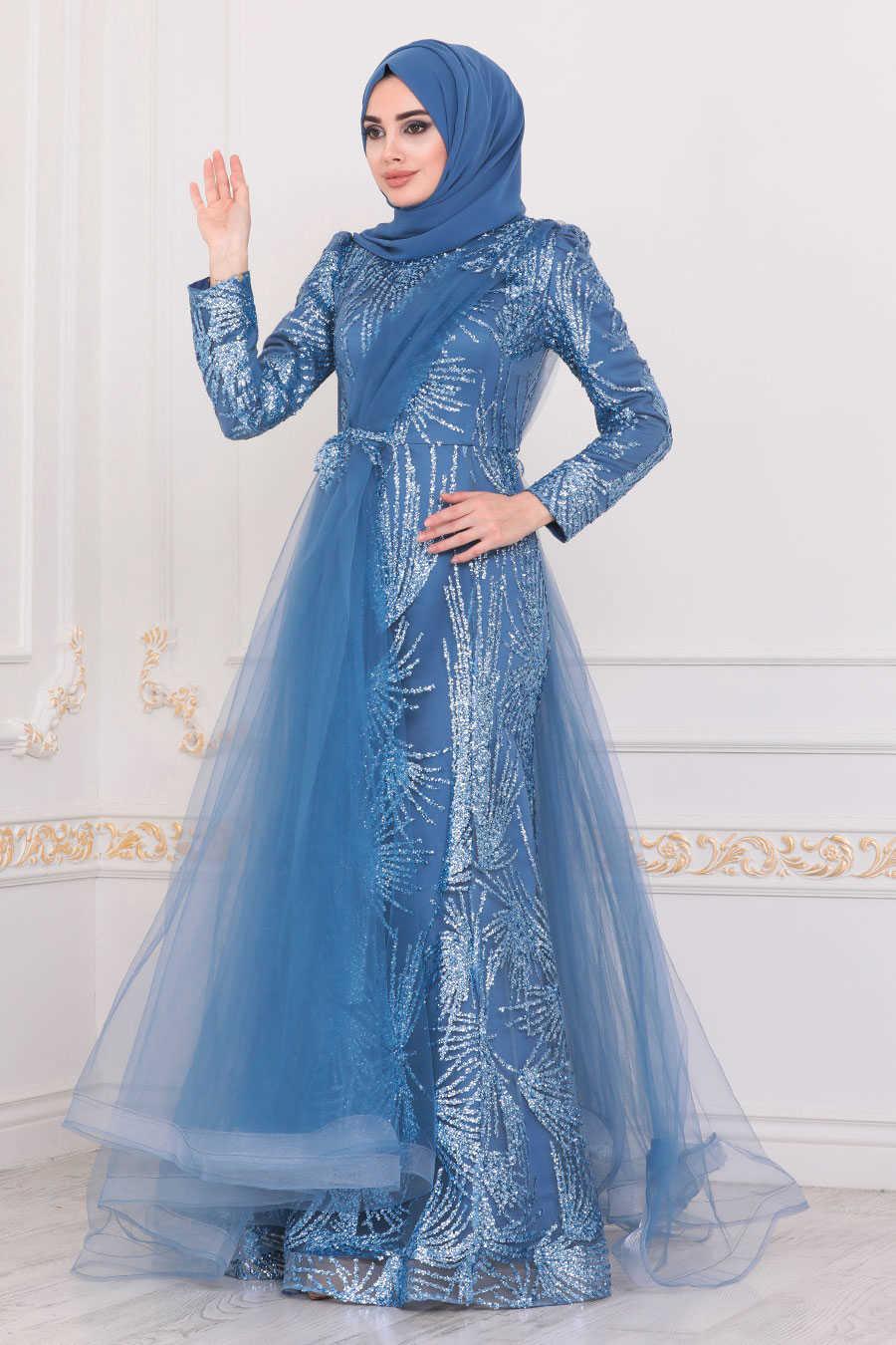 Blue Hijab Evening Dress 40732M