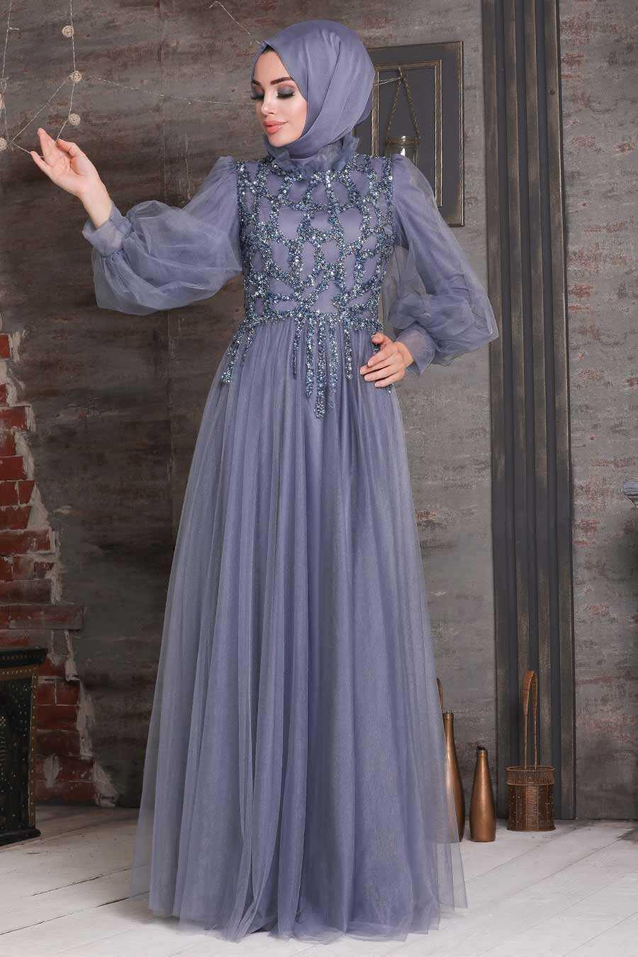 Blue Hijab Evening Dress 4093M