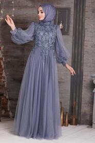 Blue Hijab Evening Dress 4093M - Thumbnail
