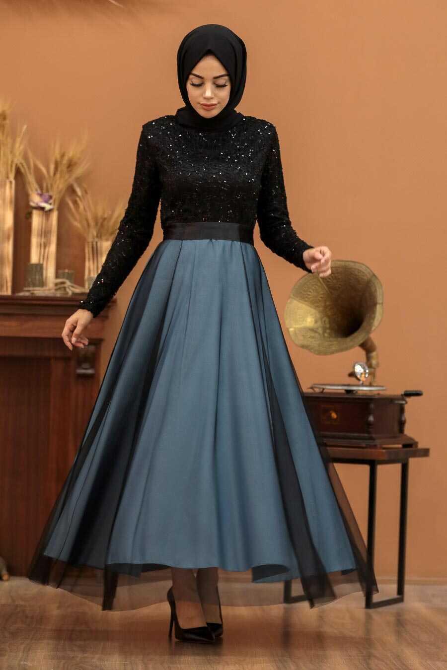 Blue Hijab Evening Dress 50040M