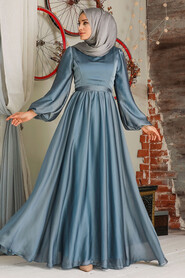 Blue Hijab Evening Dress 5215M - Thumbnail