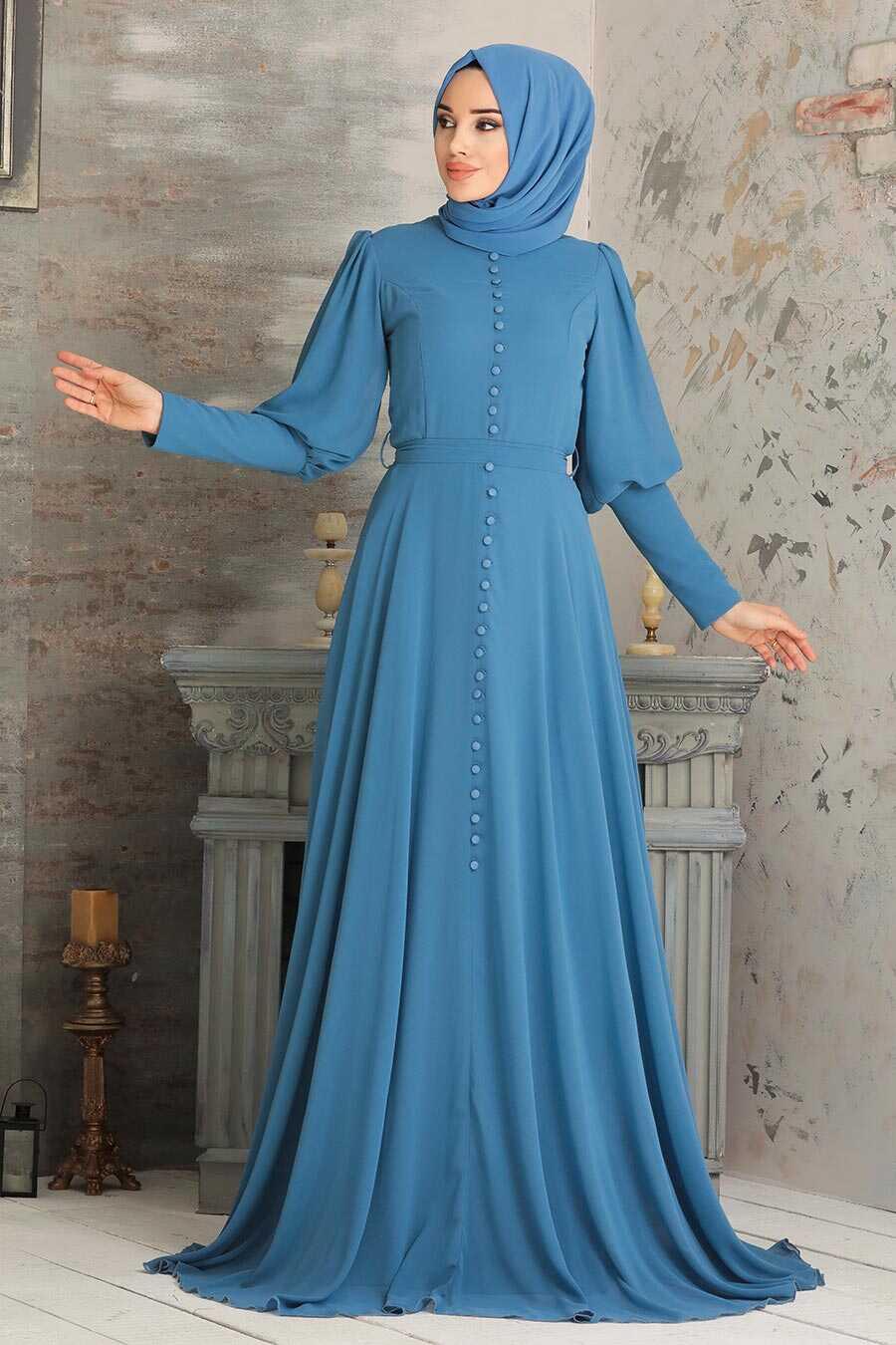 Blue Hijab Evening Dress 54551M