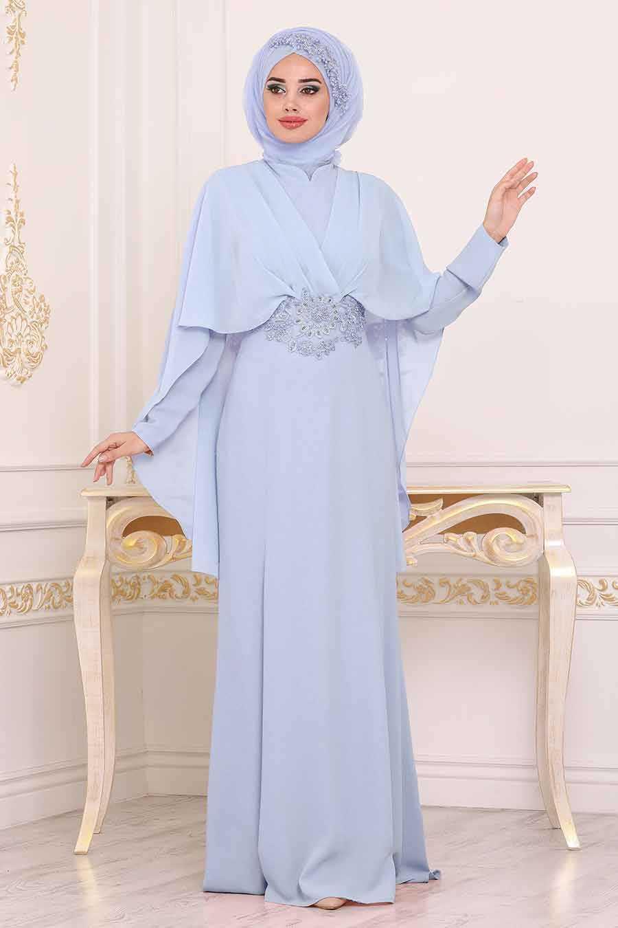 Boncuk Detaylı Mavi Tesettür Abiye Elbise 39170M