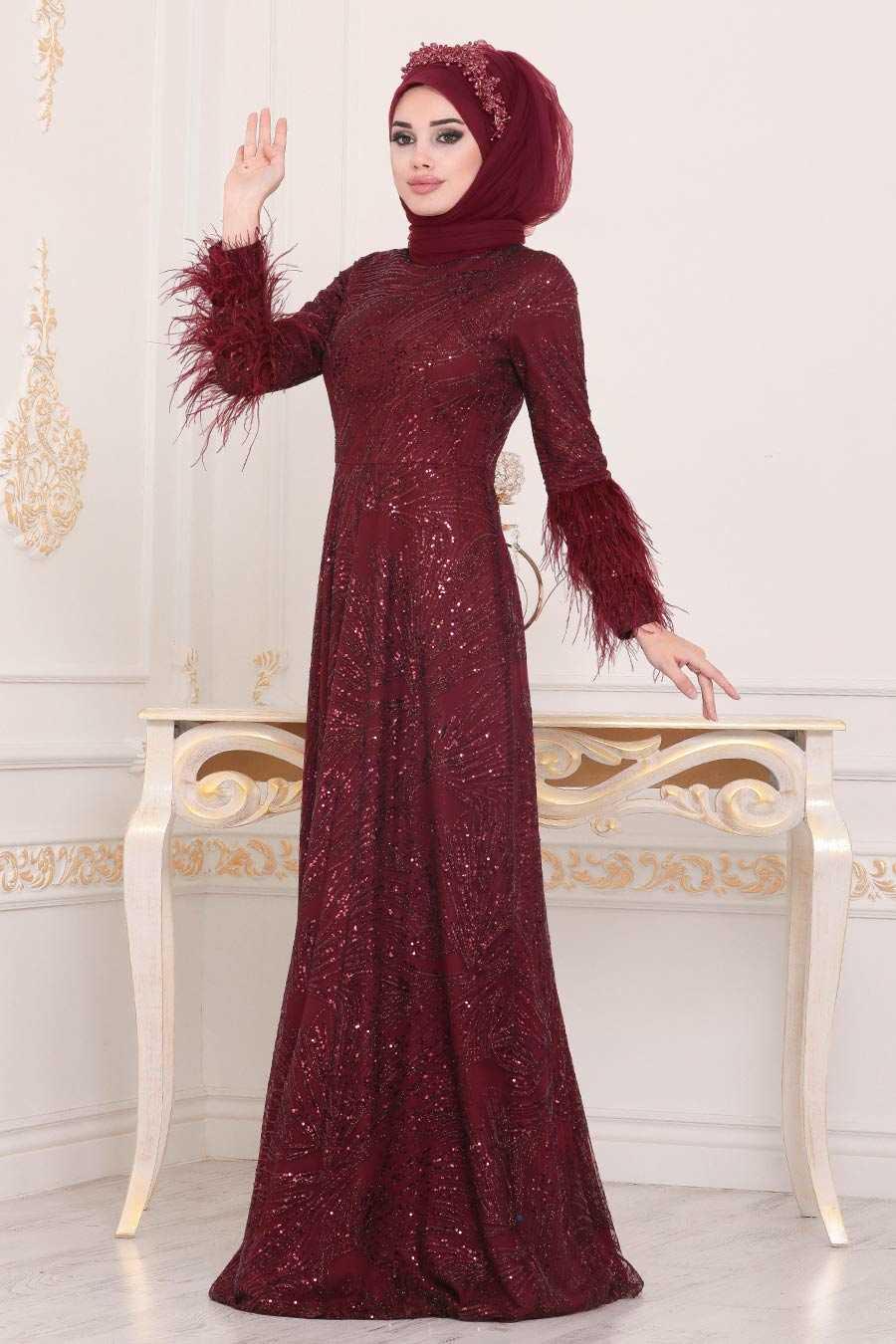 Bordo Tesettür Abiye Elbise 39191BR