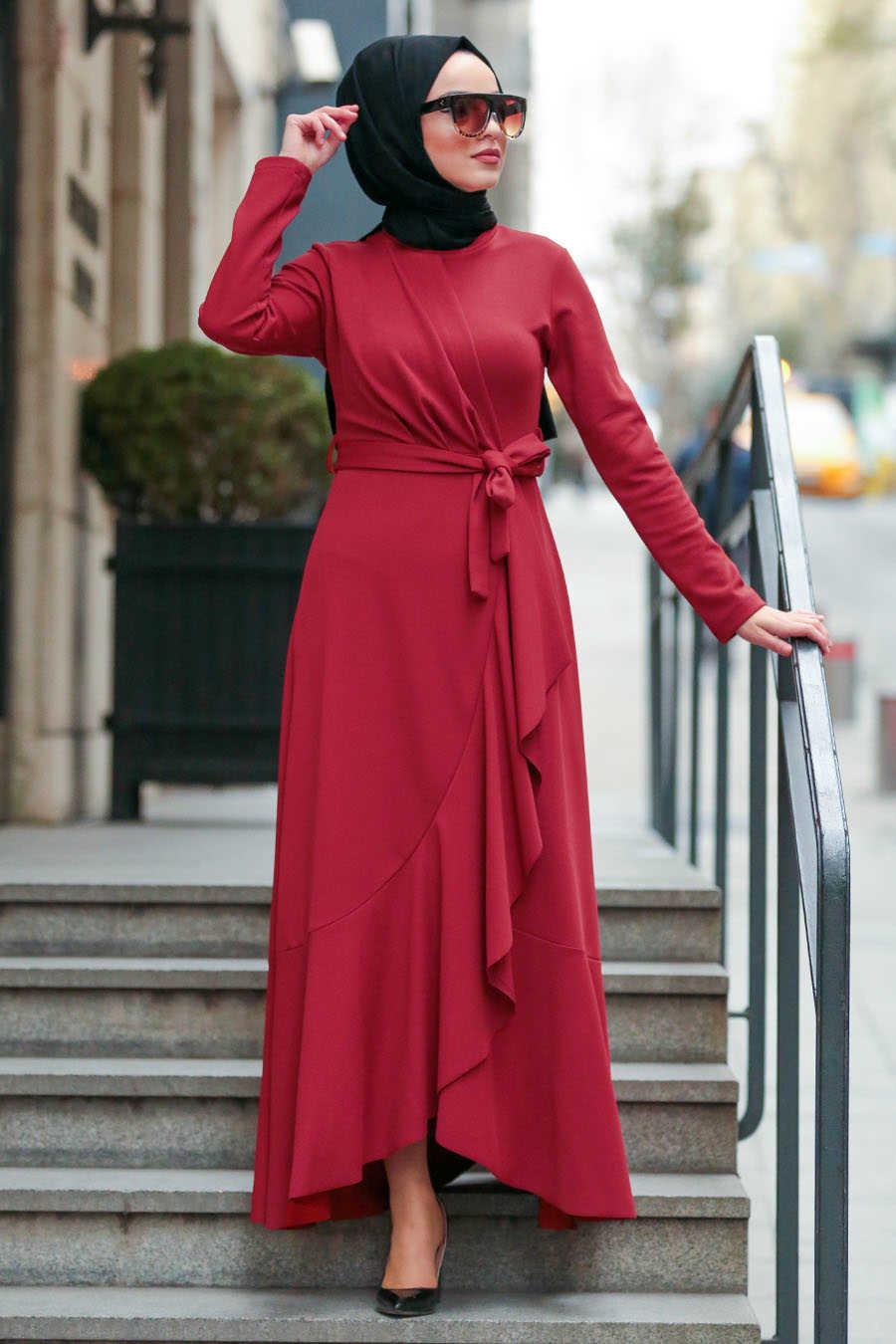 Bordo Tesettür Çapraz Elbise 4041BR