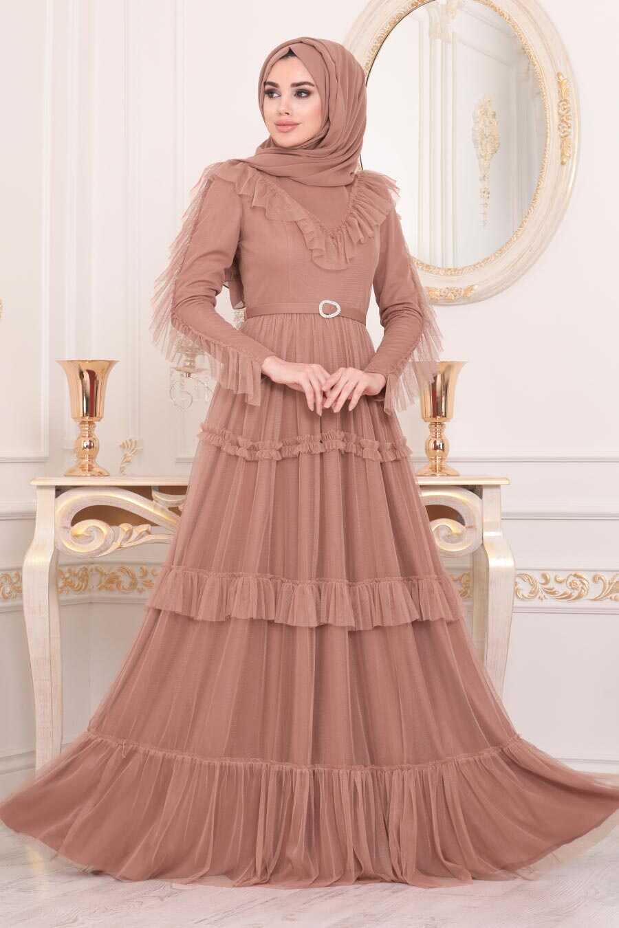 Caramel Hijab Evening Dress 4097CR