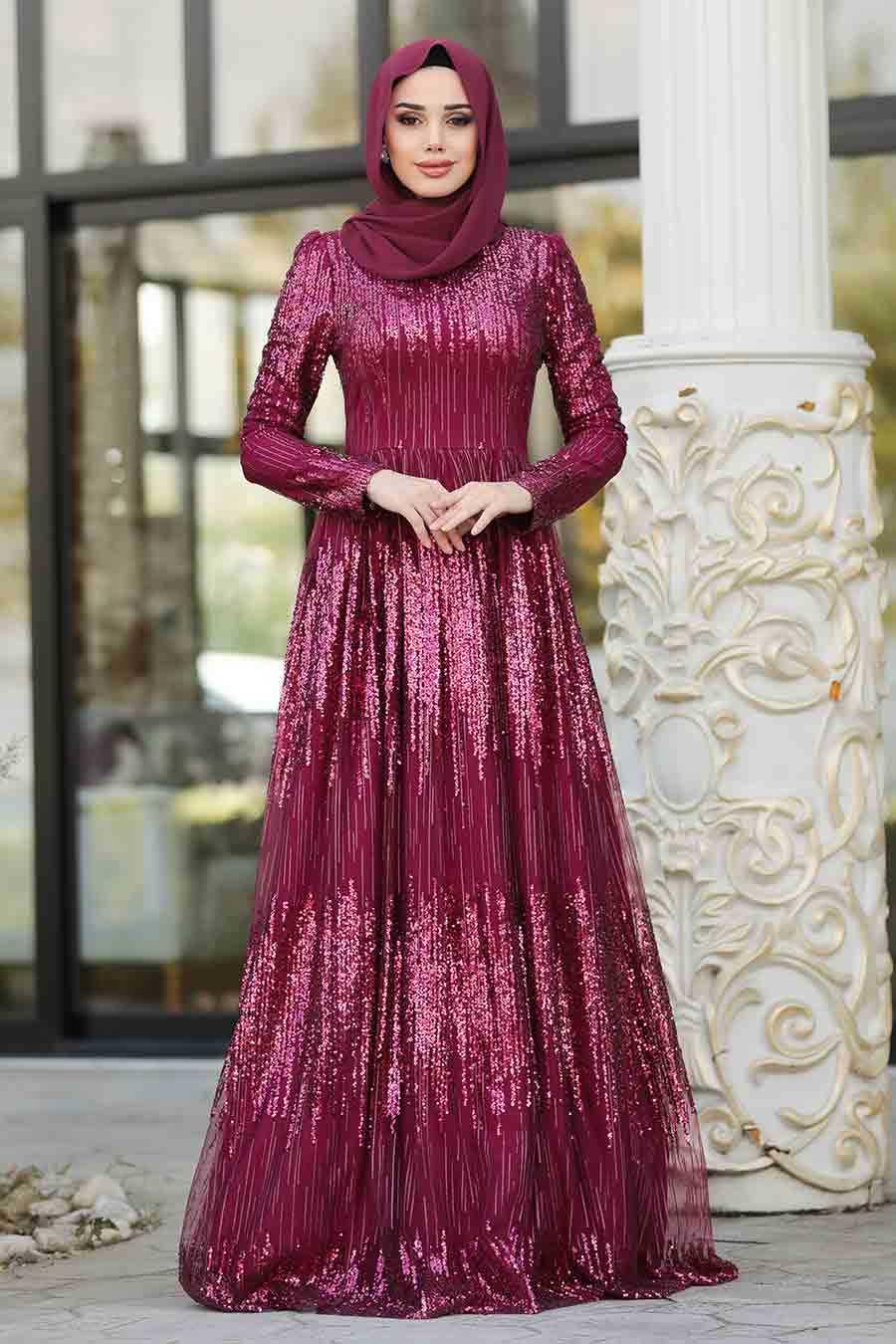 Cherry Hijab Evening Dress 2083VSN