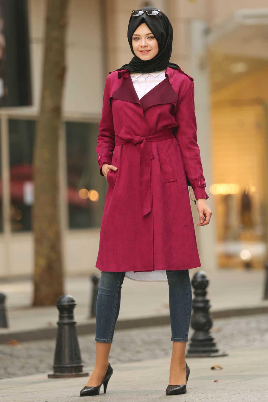 Cherry Hijab Trench Coat 5545VSN