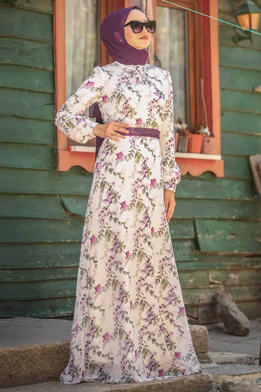 Çiçek Desenli Beyaz Tesettür Elbise 815217B