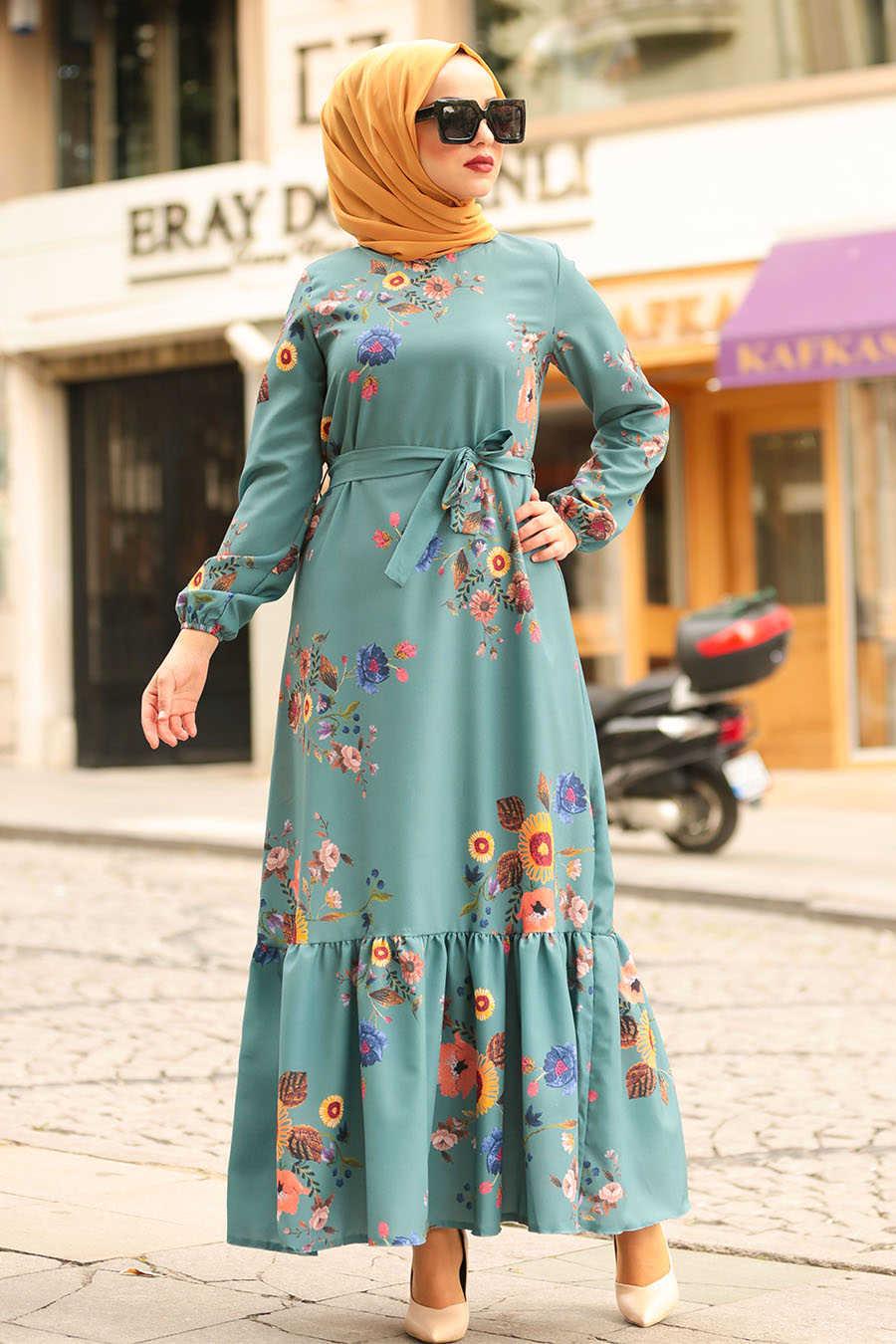 Çiçek Desenli Çağla Yeşili Tesettür Elbise 6271CY