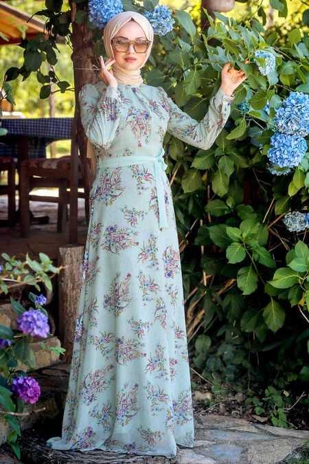 Çiçek Desenli Mint Tesettür Elbise 815219MINT