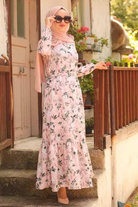 Çiçek Desenli Pudra Tesettür Elbise 50050PD