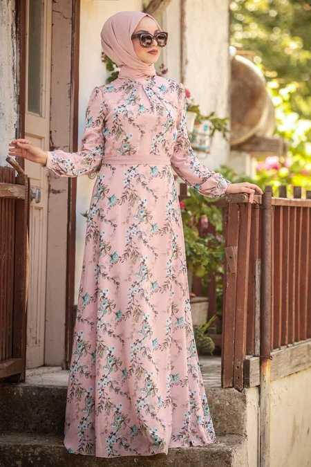 Çiçek Desenli Pudra Tesettür Elbise 815217PD