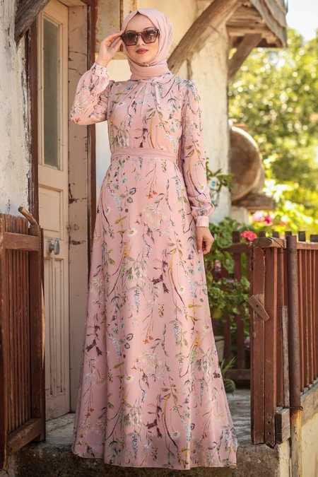 Çiçek Desenli Pudra Tesettür Elbise 815218PD