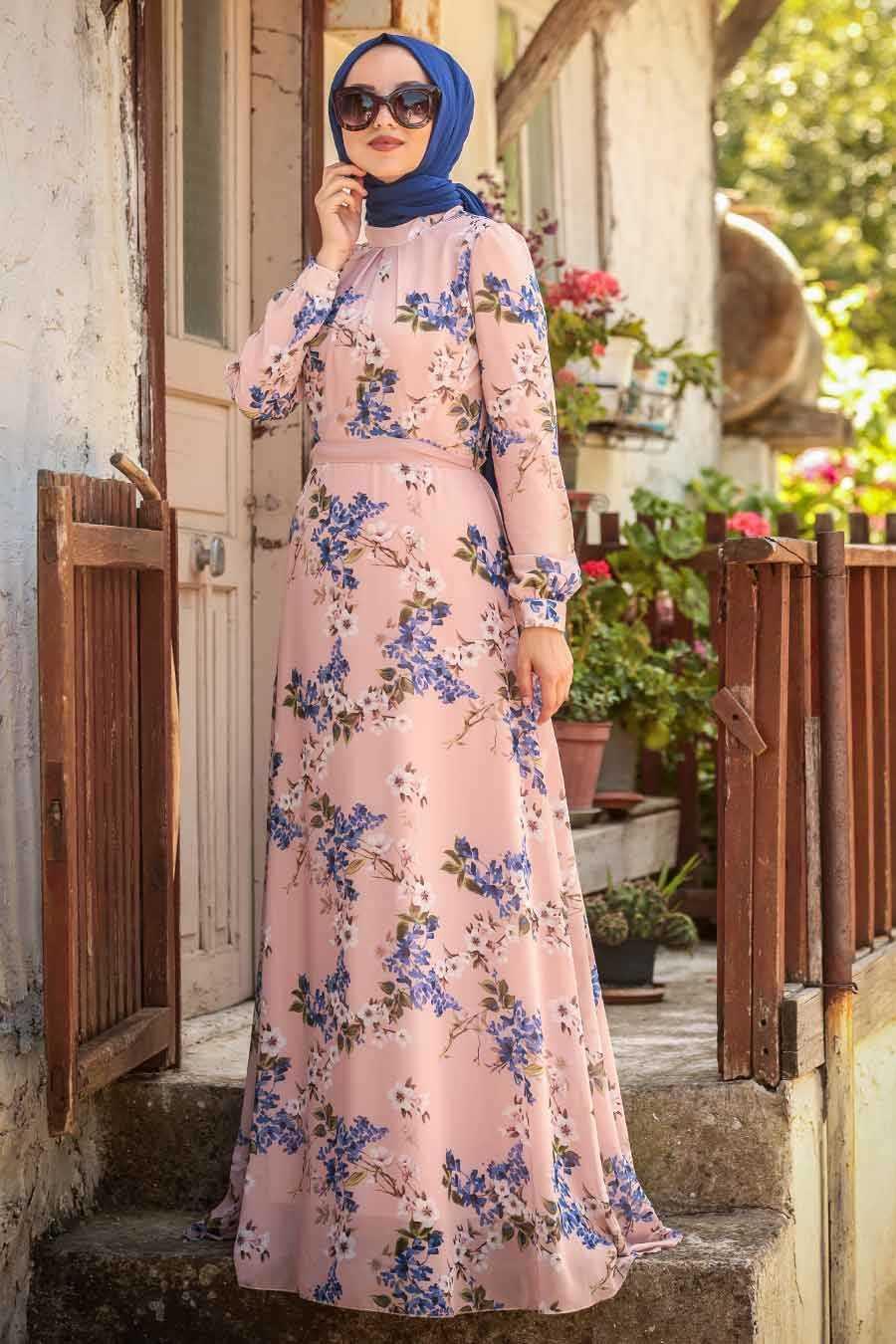 Çiçek Desenli Pudra Tesettür Elbise 815239PD