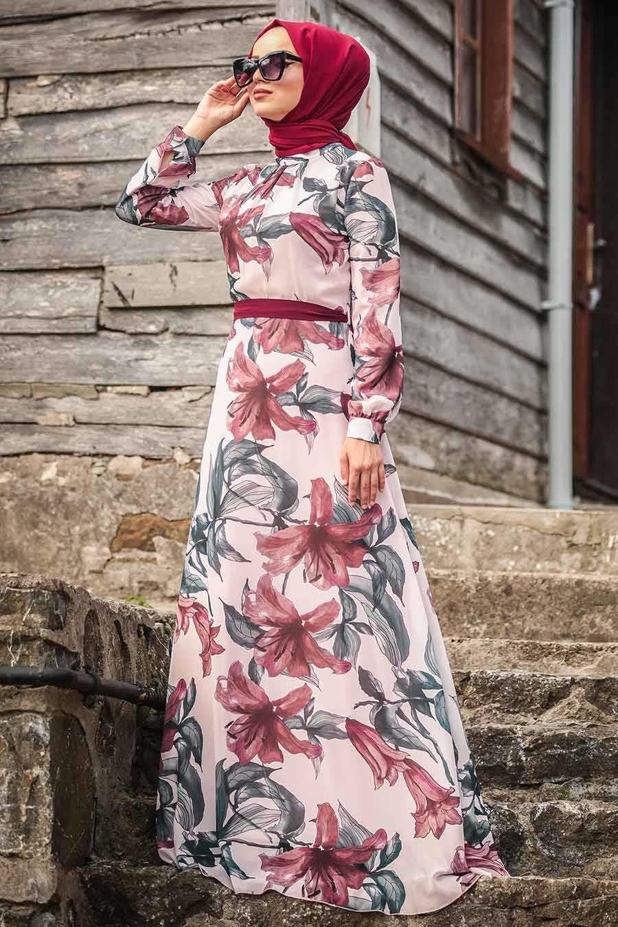 Çiçek Desenli Pudra Tesettür Elbise 815244PD