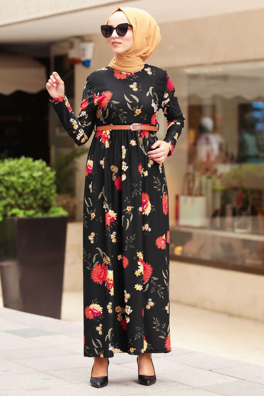 Çiçek Desenli Siyah Tesettür Elbise 16396S