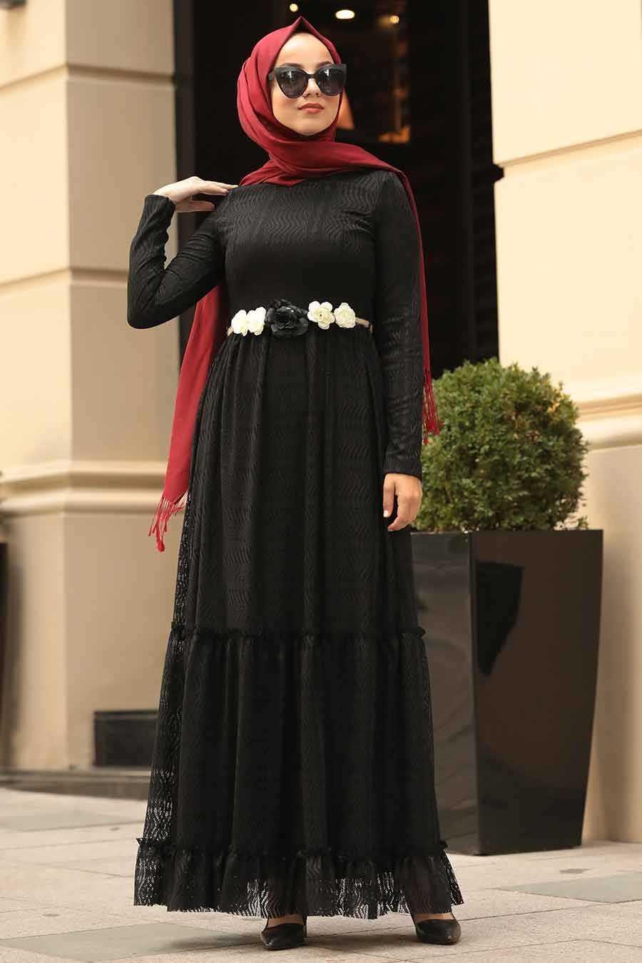 Çiçek Kemerli Siyah Tesettür Elbise 1390S