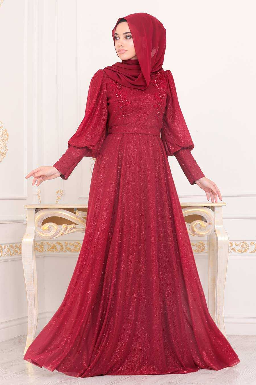 Clared Red Hijab Evening Dress 21521BR