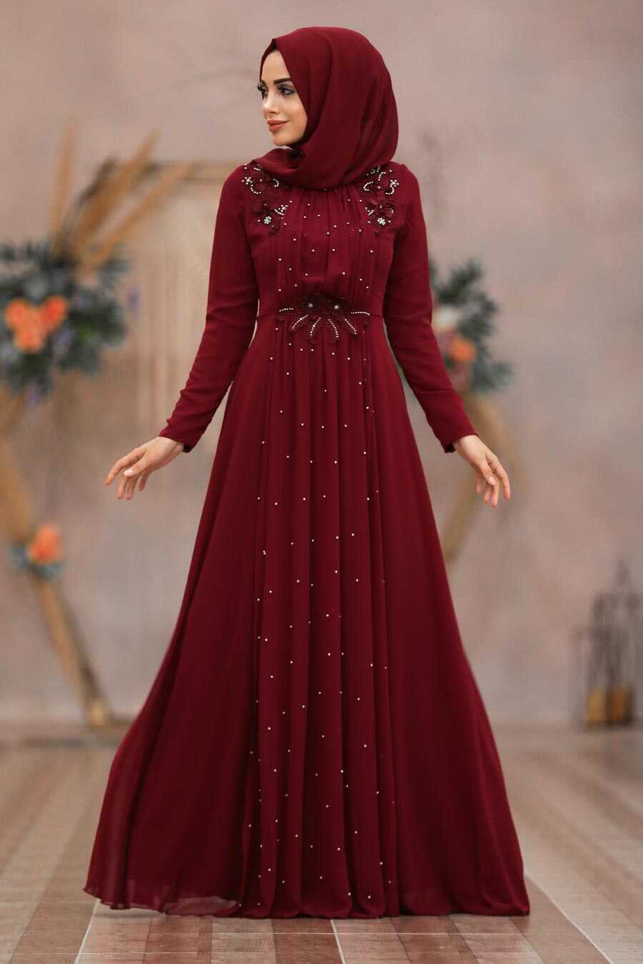Clared Red Hijab Evening Dress 50030BR