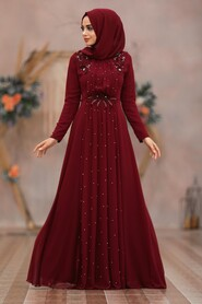 Clared Red Hijab Evening Dress 50030BR - Thumbnail