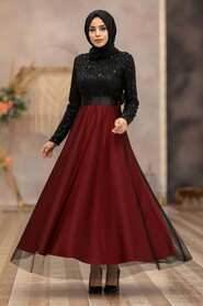 Clared Red Hijab Evening Dress 50040BR - Thumbnail