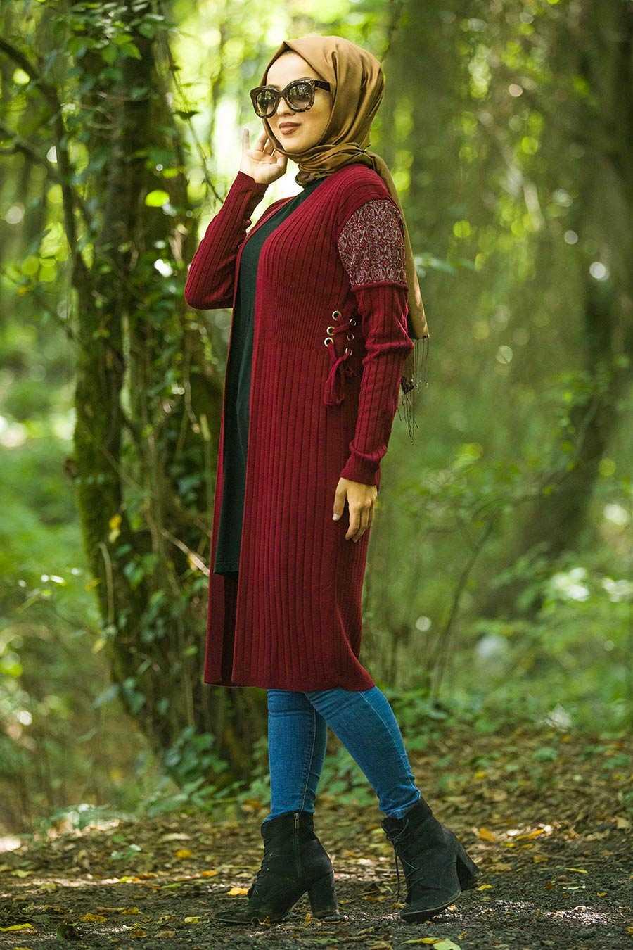 Claret Red Cardigan 1404BR