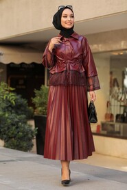 Claret Red Dual Suit Dress 1294BR - Thumbnail