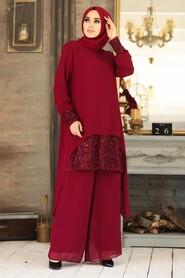 Claret Red Dual Suit Dress 50053BR - Thumbnail