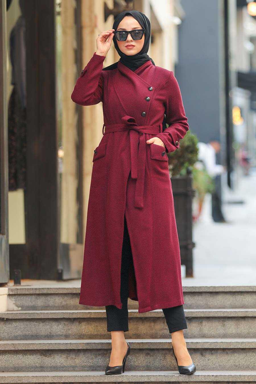 Claret Red Hijab Coat 5074BR