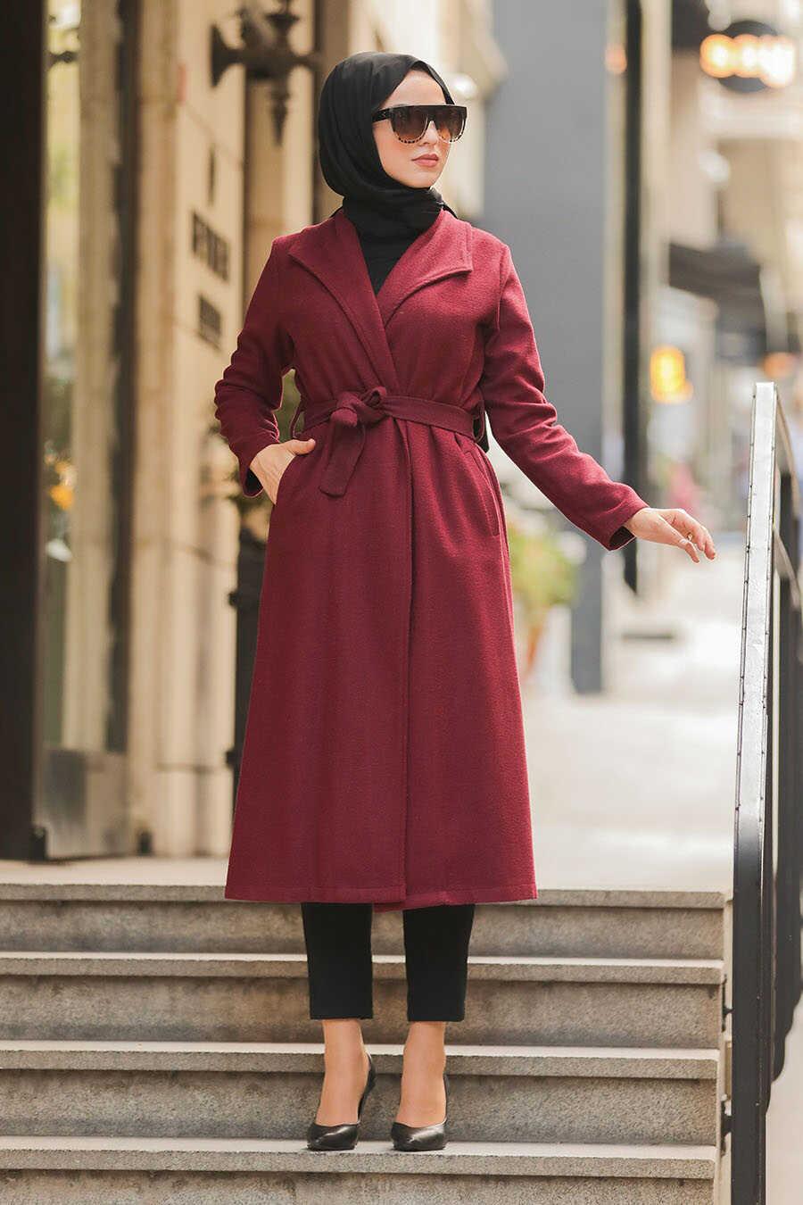 Claret Red Hijab Coat 5173BR