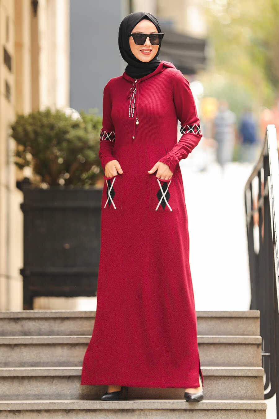 Claret Red Hijab Dress 2243BR