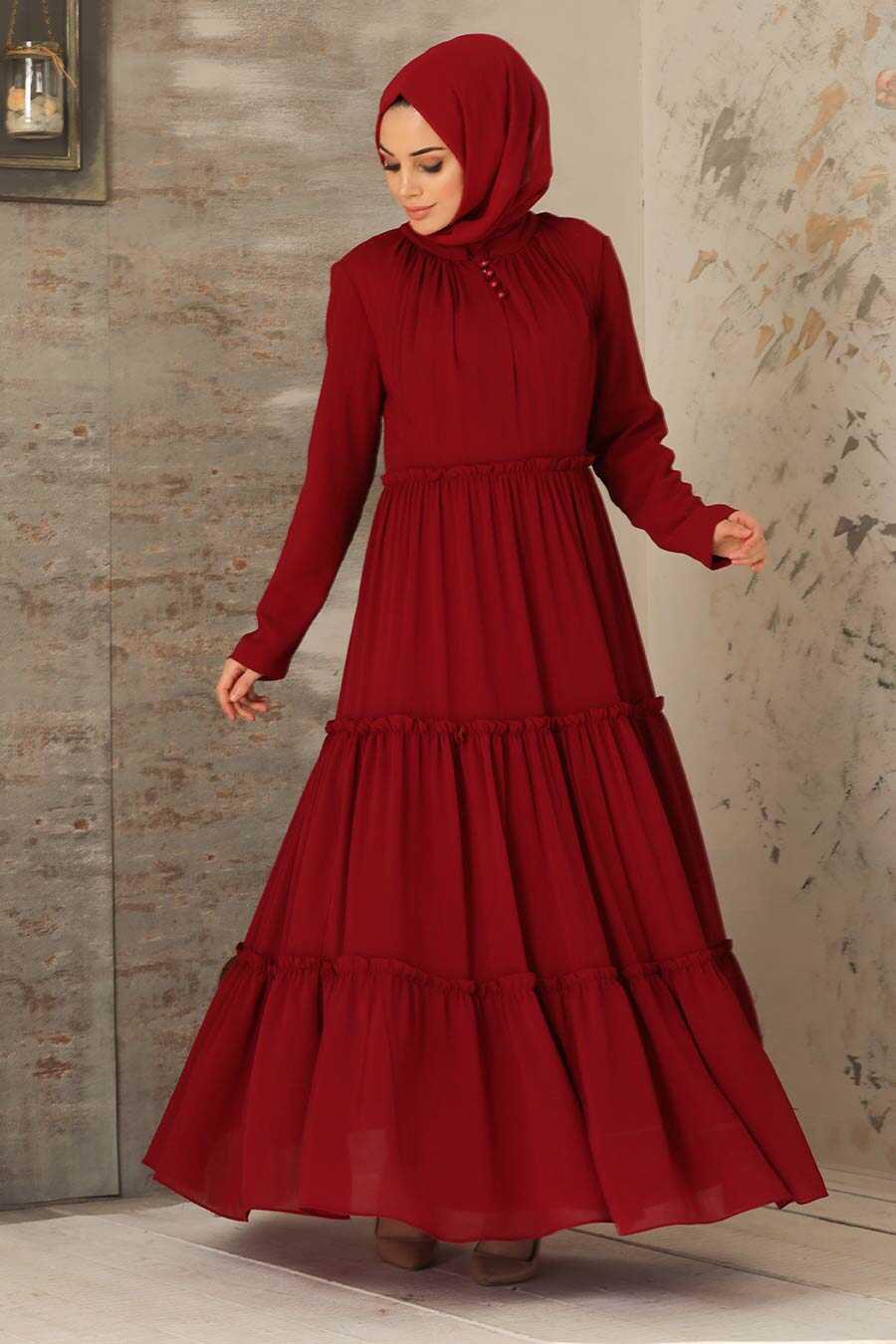 Claret Red Hijab Dress 2746BR