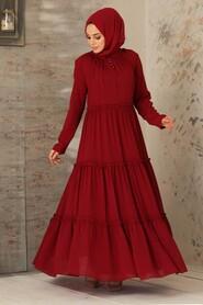Claret Red Hijab Dress 2746BR - Thumbnail