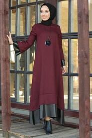 Claret Red Hijab Dress 3348BR - Thumbnail