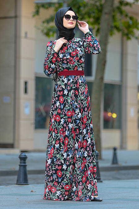 Claret Red Hijab Dress 81528BR