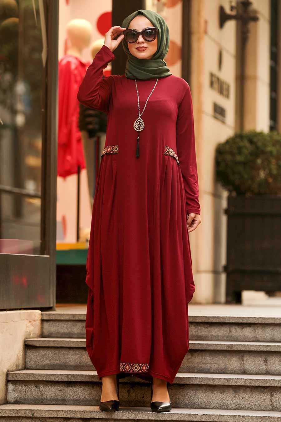 Claret Red Hijab Dress 9540BR