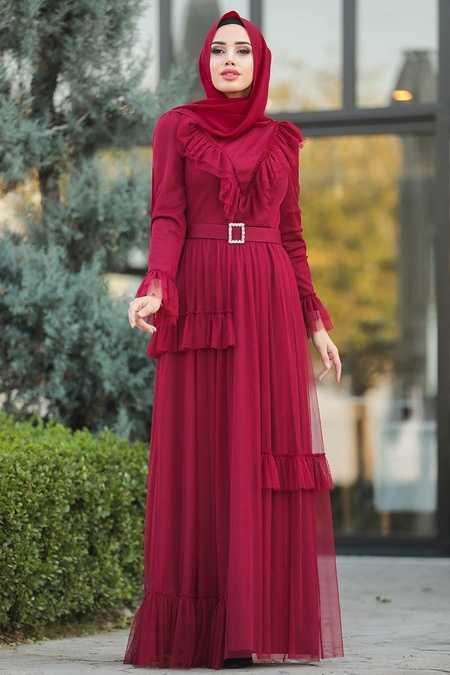 Claret Red Hijab Evening Dress 2134BR