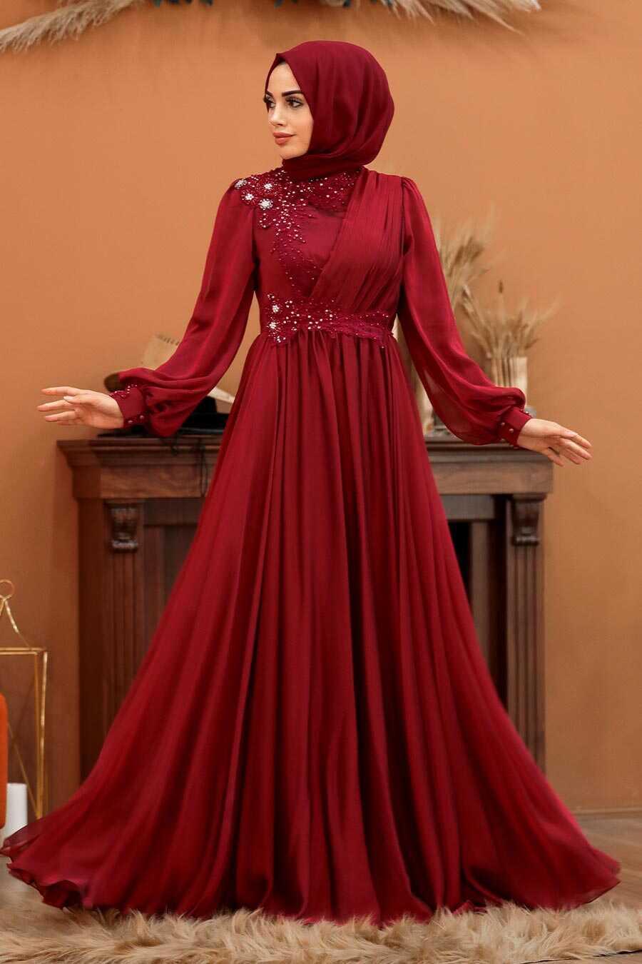 Claret Red Hijab Evening Dress 21650BR