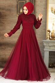 Claret Red Hijab Evening Dress 21780BR - Thumbnail