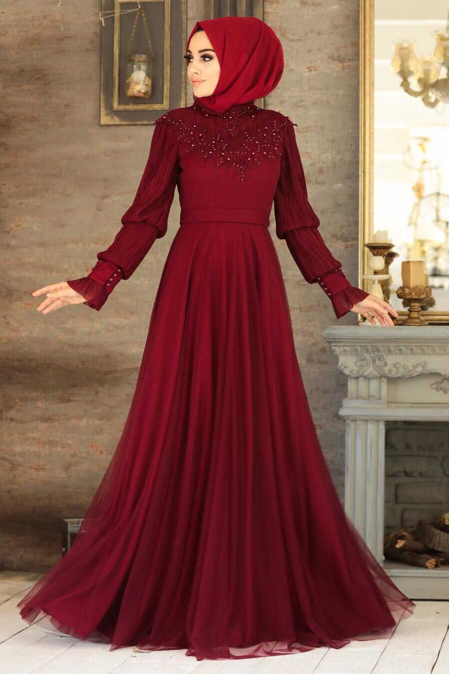 Claret Red Hijab Evening Dress 21780BR