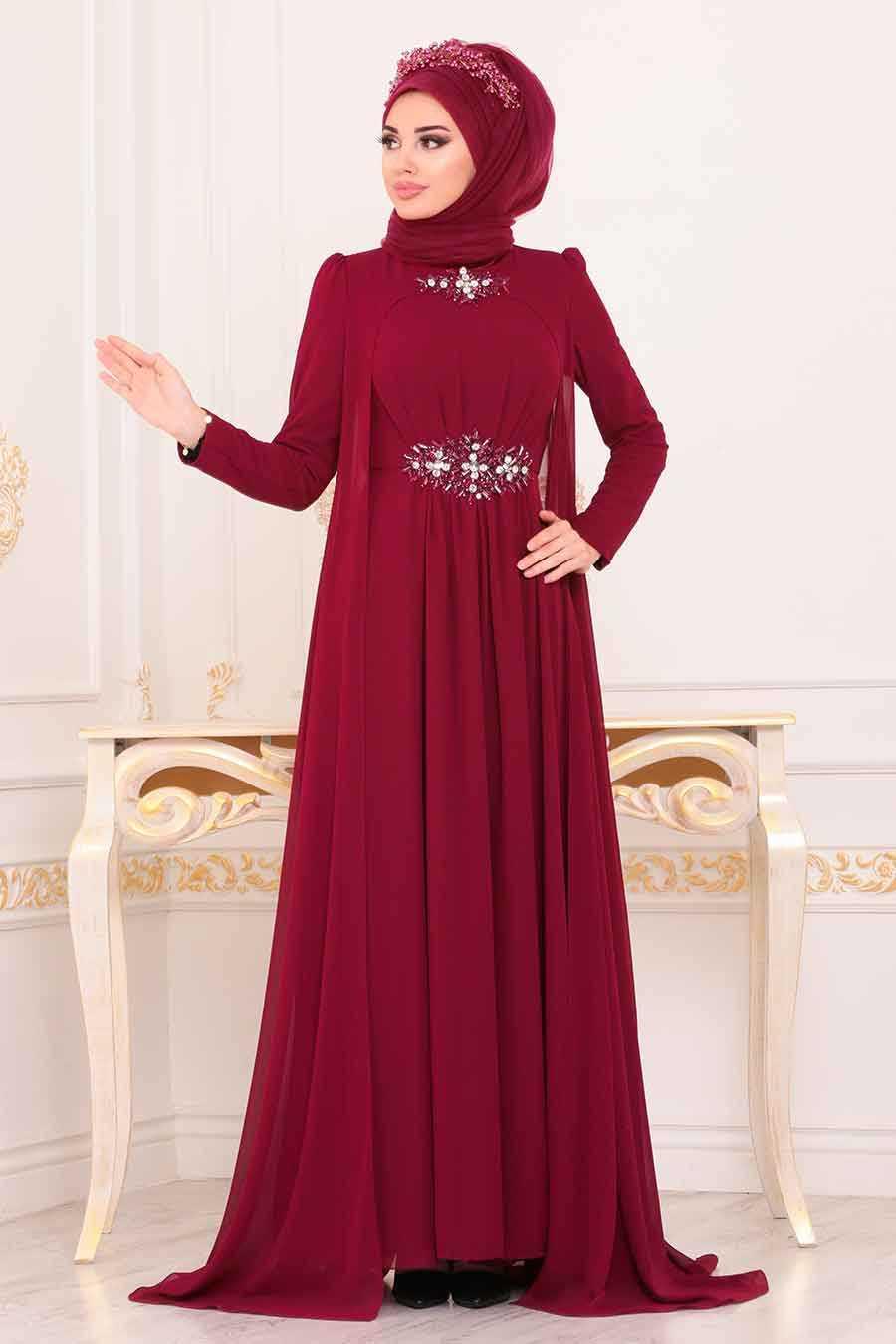 Claret Red Hijab Evening Dress 3851BR