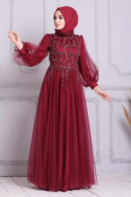 Claret Red Hijab Evening Dress 4093BR - Thumbnail
