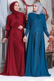 Claret Red Hijab Evening Dress 50090BR - Thumbnail