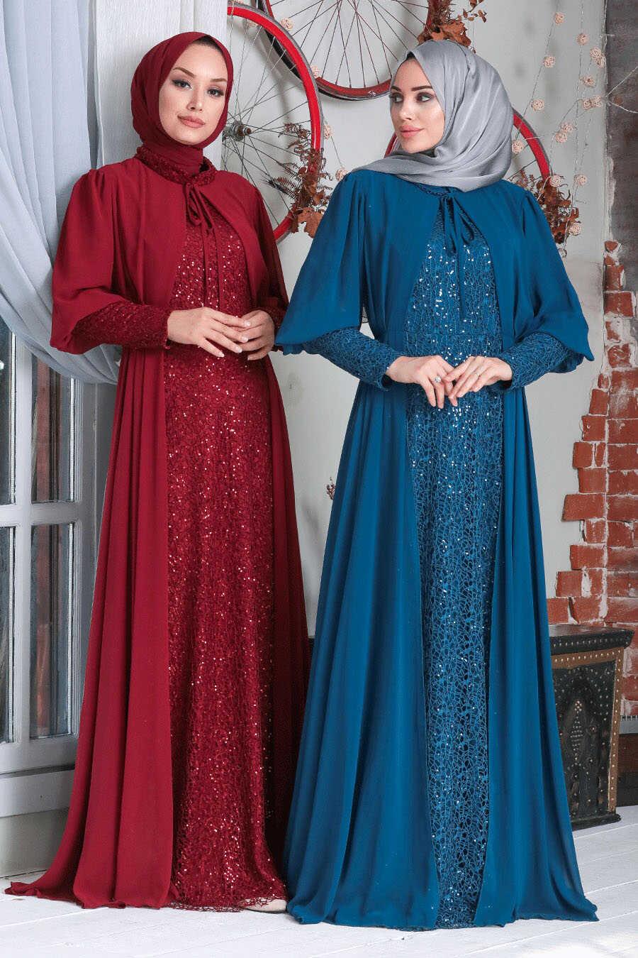 Claret Red Hijab Evening Dress 50090BR