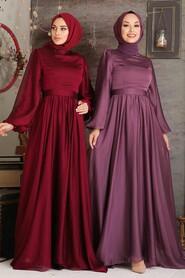 Claret Red Hijab Evening Dress 5215BR - Thumbnail