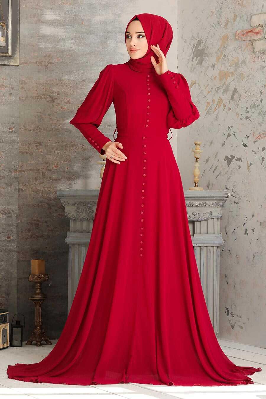 Claret Red Hijab Evening Dress 54551BR