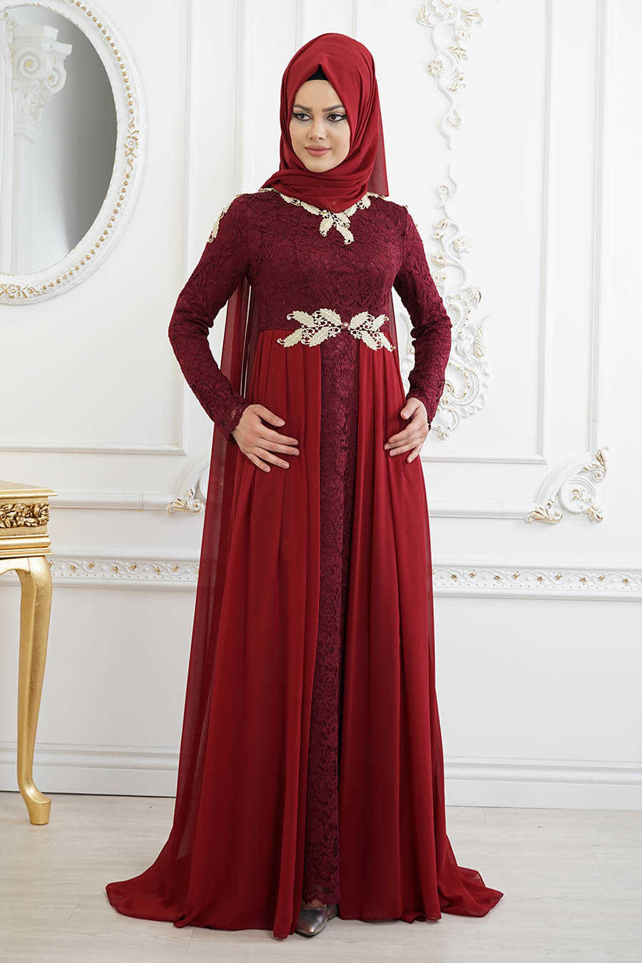 Claret Red Hijab Evening Dress 8110BR