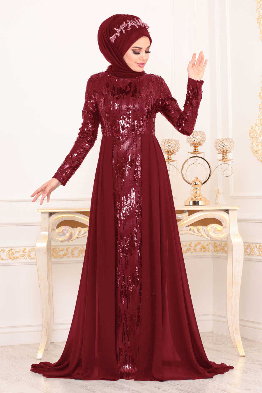 Neva Style - Claret Red Hijab Evening Dress 8590BR